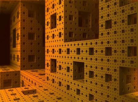 Render of the inside of a 3D Sierpinski Menger fractal object Stock Photo