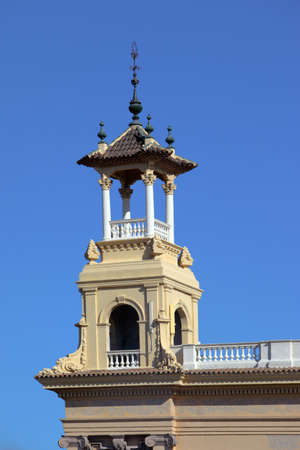Baroque tower on national palace in Barcelona, Spain Stock Photo
