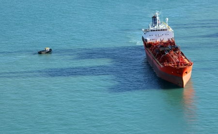 Aerial view of a chemical tanker cruising