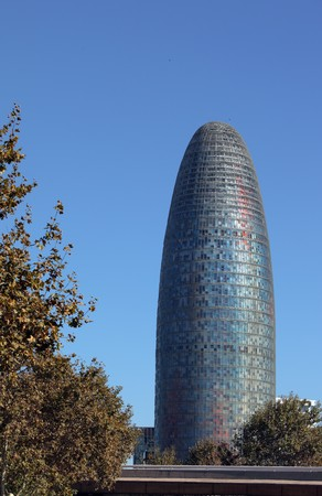 Round shaped 33 stories Agbar tower in Barcelona
