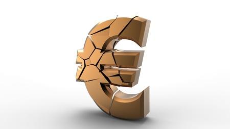 Rendering of a golden broken euro sign