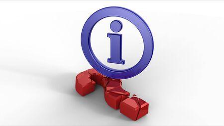 Symbole d'infos Blue casser rouge signe de point d'interrogation Banque d'images