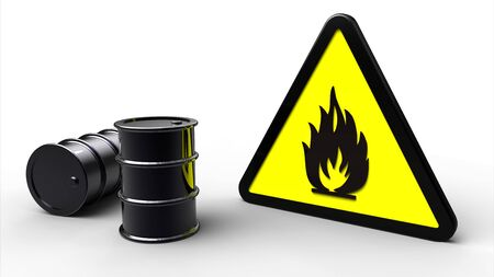 Triangle flammable hazard sign next to black barrels