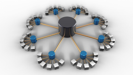 3D rendering of a symbolic network isolated on white
