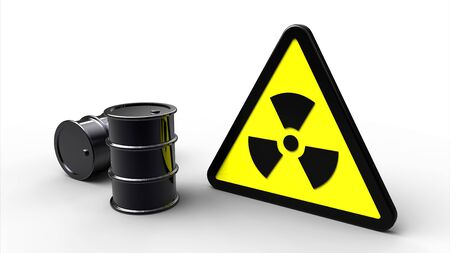Triangle radioactive hazard sign next to black barrels