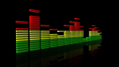 3D render of an equalizer made of flat blocks photo