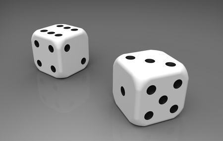 Two white plastic dices isolated on reflective background