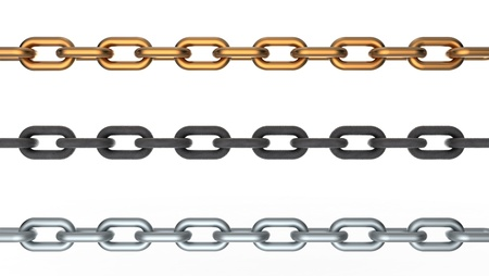 Computer 3D rendering of three chains isolated on white background