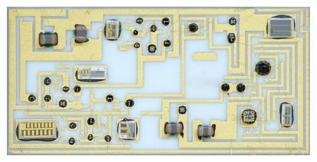Macro shot of an old electronic analogic circuit