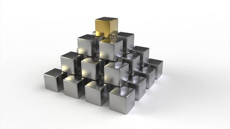 Computer rendering of a pyramid made of metallic cubes