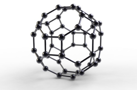 Computer rendering of a C48 fullerene molecule Stock Photo
