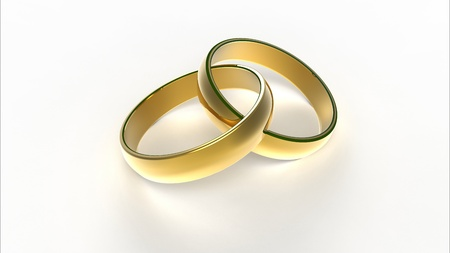 Computer rendering of two interlaced golden wedding rings Stock Photo