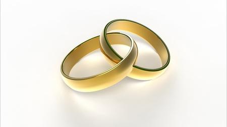 Ordinateur rendu de deux anneaux entrelac�s de mariage golden Banque d'images