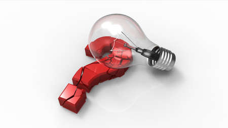 questioner: Light bulb breaking a question mark sign Stock Photo