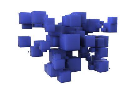 Tableau al�atoire de cube en plastique bleu isol� sur fond blanc Banque d'images