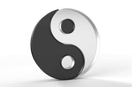 3D glass Yin Yang asian symbol over white background photo