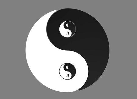 Recursive 2D Yin Yang asian symbol isolated on grey background photo