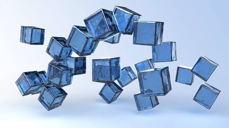 Computer rendering of glass blue cubes photo