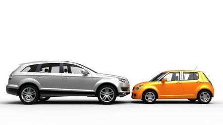 Grey SUV and color city car head to head Stock Photo - 9323955