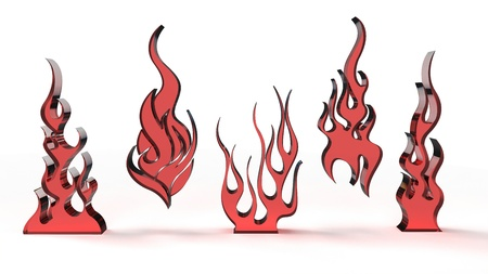 Computer rendering of stylized 3D glass flames objects