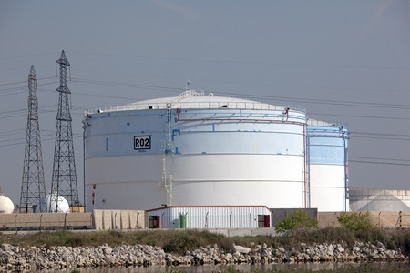 Large gas tanks near an oil refinery  photo