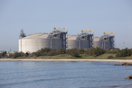 Huge concrete methane tanks in southern France photo