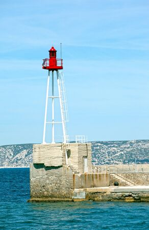 Light beacon at the entrance of Marseille harbor Stock Photo - 9796792