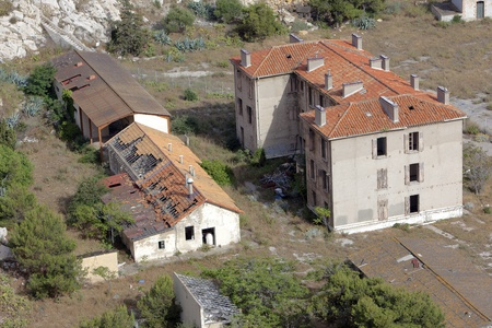 Aerial view of ruined abandoned houses Stock Photo - 9796800