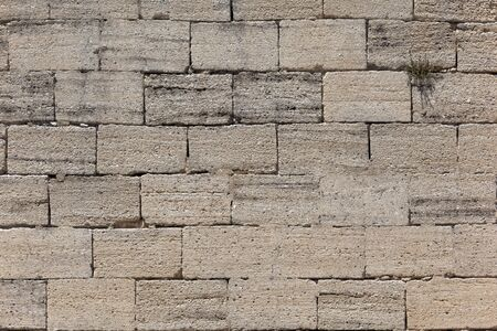 Front view of an old stone brick wall Stock Photo - 9796850
