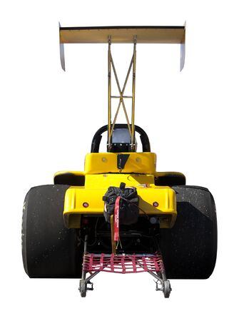 Yellow dragster race car isolated on white background Stock Photo - 9893042
