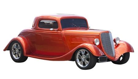coche clásico: Bella estadounidense hot rod aislada sobre fondo blanco