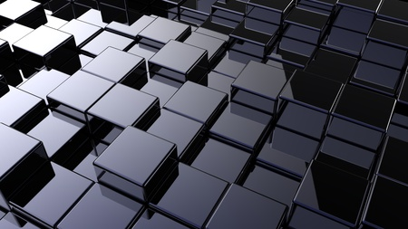 Abstract array of shinny cubes of different height Banque d'images