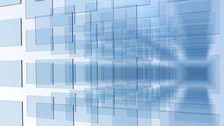 pannel: 3D rendering of an array of blue glass pannel on white background Stock Photo