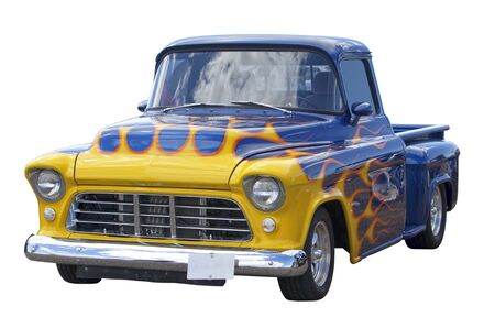 restored: Hot rod decorated with flames isolated on white background