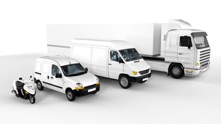 Representación de un scooter blanco, coche, van y camiones sobre fondo blanco