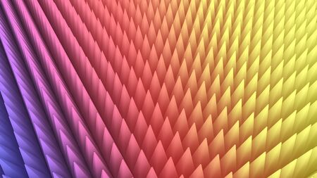 array: 3d rendering of abstract of dense colorful pyramid array
