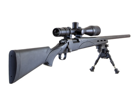 M24 Sniper rifle on bipod isolated on white background photo