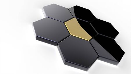 3D abstract rendering of shiny hexagons isolated on white