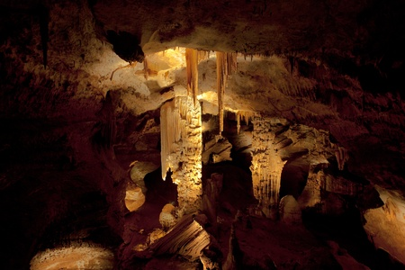 limestone caves: Huge stalagtites and stalagmites in a large cave in southern France