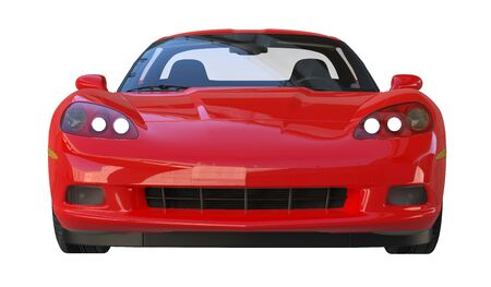 car front: Front view of a modern red american sportscar isolated on white background