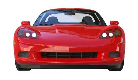 Vue de face d'une voiture de sport rouge am�ricaine moderne isol� sur fond blanc