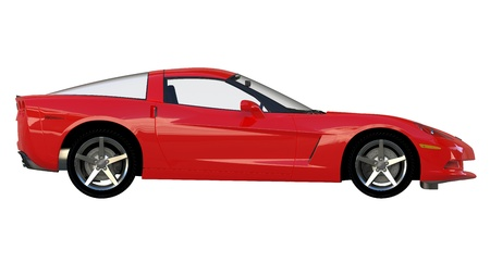 Side view of a modern red american sportscar isolated on white background Stock Photo