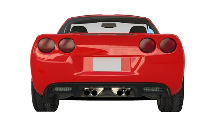 Rear view of a modern red american sportscar isolated on white background