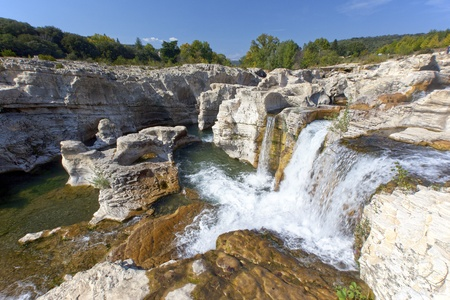 Sautadet waterfalls in southern France near La Roque sur Ceze