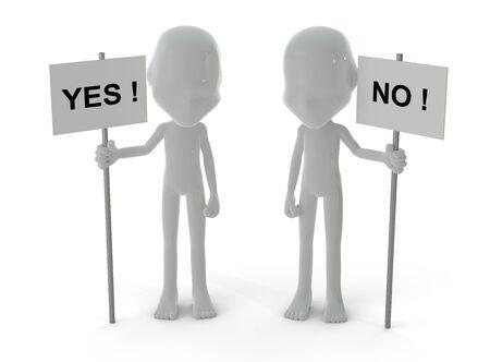 Des personnages en 3D et deux oui et pas de panneaux isol�s sur fond blanc Banque d'images