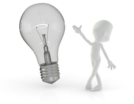 Personnage en 3D montrant fi�rement une ampoule isol� sur fond blanc