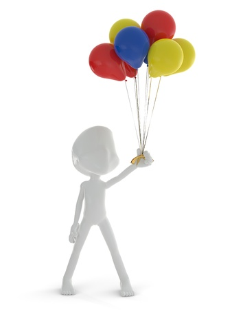 baloons: 3D character holding colorful baloons isolated on white background