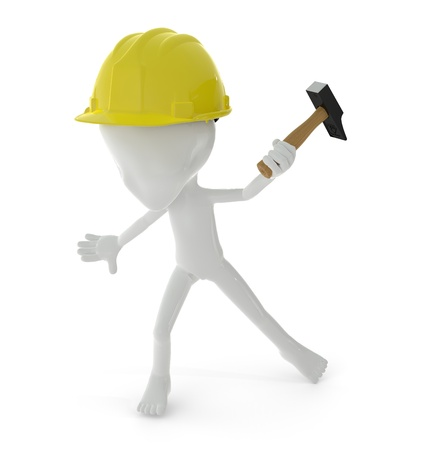 3D character holding a hammer isolated on white background