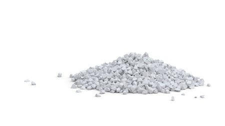 Pile of small white rocks isolated on white photo
