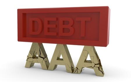 Cote de cr�dit AAA de la dette en vertu de la rupture: Illustrtion 3d isol� sur fond blanc